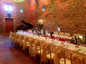 The Beautiful Tithe Barn at Brownsholme Hall, set for The Moorhead's wedding breakfast.